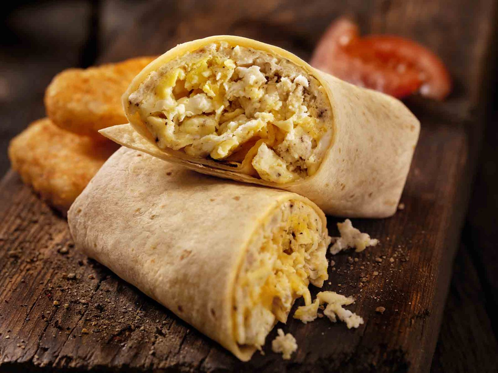 Breakfast wrap with eggs and cheese