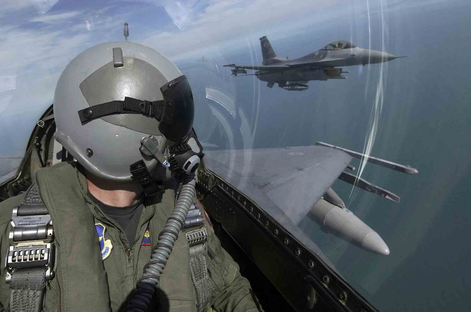 Pilot in an F16 Fighter Jet with the US Army