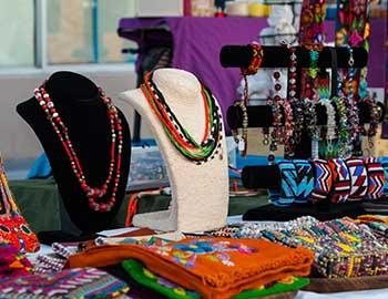 Hand made jewelry on display at the Art in Common festival
