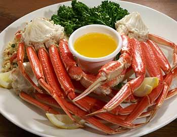 Big plate of steamed crab legs