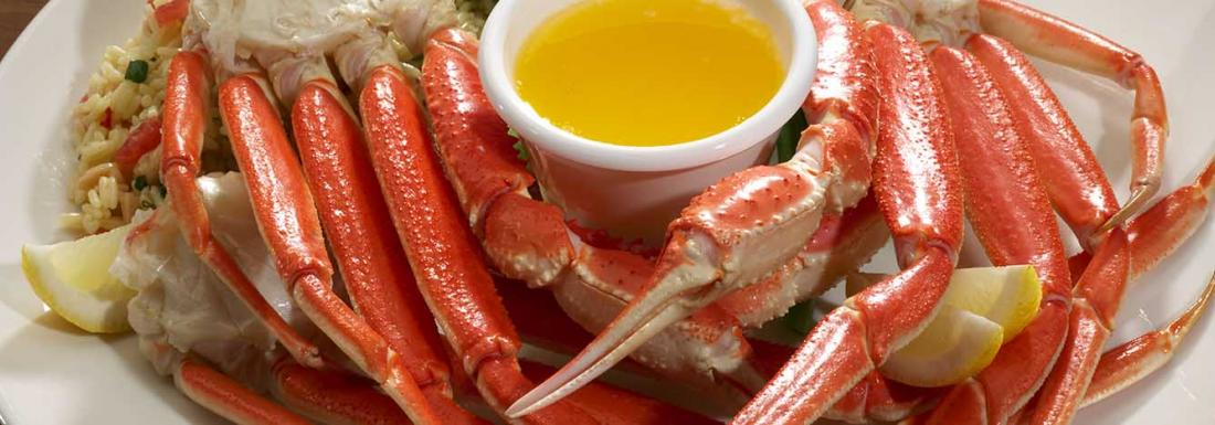 Steamed king crab legs and melted butter