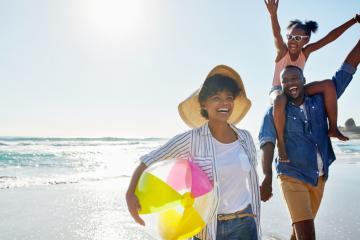 A family enjoys a beach on the Grand Strand