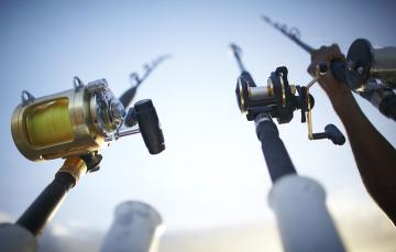 Fishing poles are ready for a Murrells Inlet fishing charter
