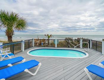 The private, beachfront pool of a Surfside vacation home