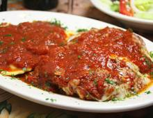Plate full of Veal Parmigiana